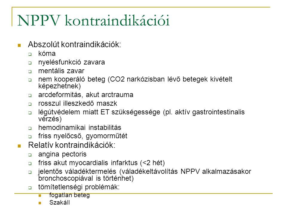 NPPV kontraindikációi Abszolút kontraindikációk:  kóma  nyelésfunkció zavara  mentális zavar  nem kooperáló beteg (CO2 narkózisban lévő betegek kivételt képezhetnek)  arcdeformitás, akut arctrauma  rosszul illeszkedő maszk  légútvédelem miatt ET szükségessége (pl.