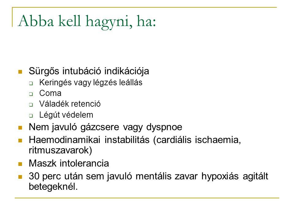 Abba kell hagyni, ha: Sürgős intubáció indikációja  Keringés vagy légzés leállás  Coma  Váladék retenció  Légút védelem Nem javuló gázcsere vagy dyspnoe Haemodinamikai instabilitás (cardiális ischaemia, ritmuszavarok) Maszk intolerancia 30 perc után sem javuló mentális zavar hypoxiás agitált betegeknél.