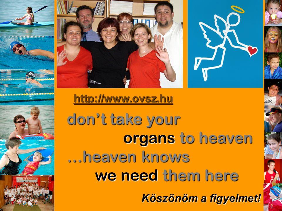 don't take your organs to heaven …heaven knows we need them here Köszönöm a figyelmet! http://www.ovsz.hu
