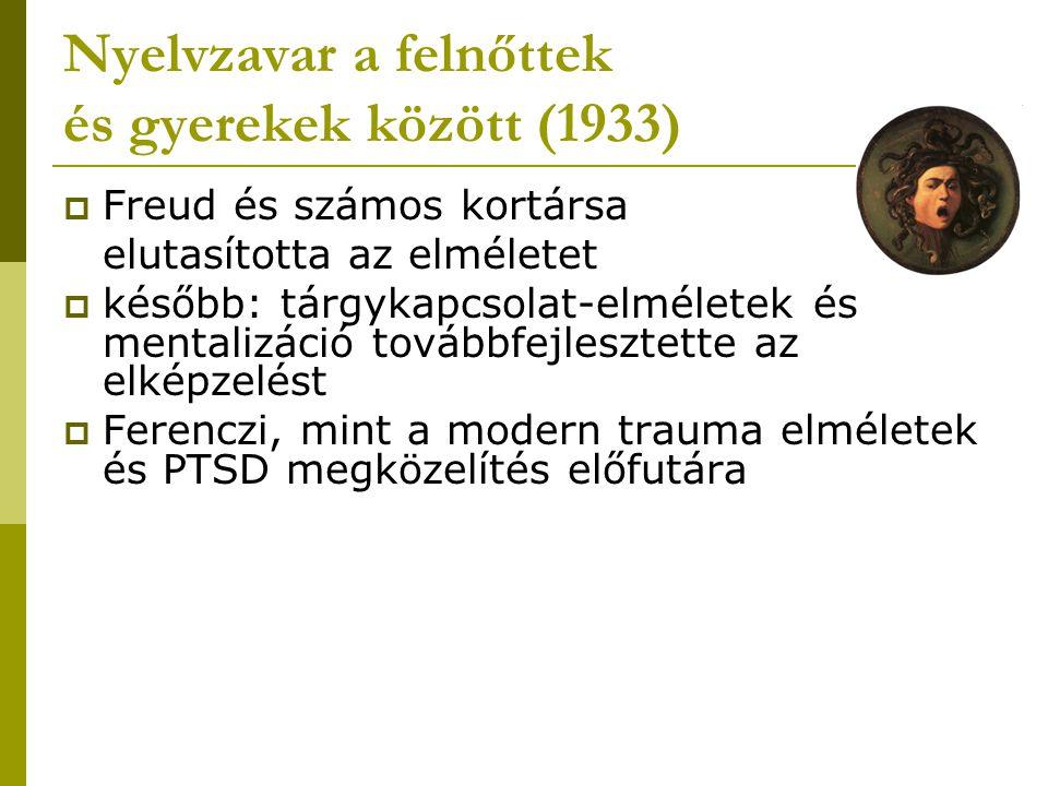 Nyelvzavar a felnőttek és gyerekek között (1933)  Freud és számos kortársa elutasította az elméletet  később: tárgykapcsolat-elméletek és mentalizác