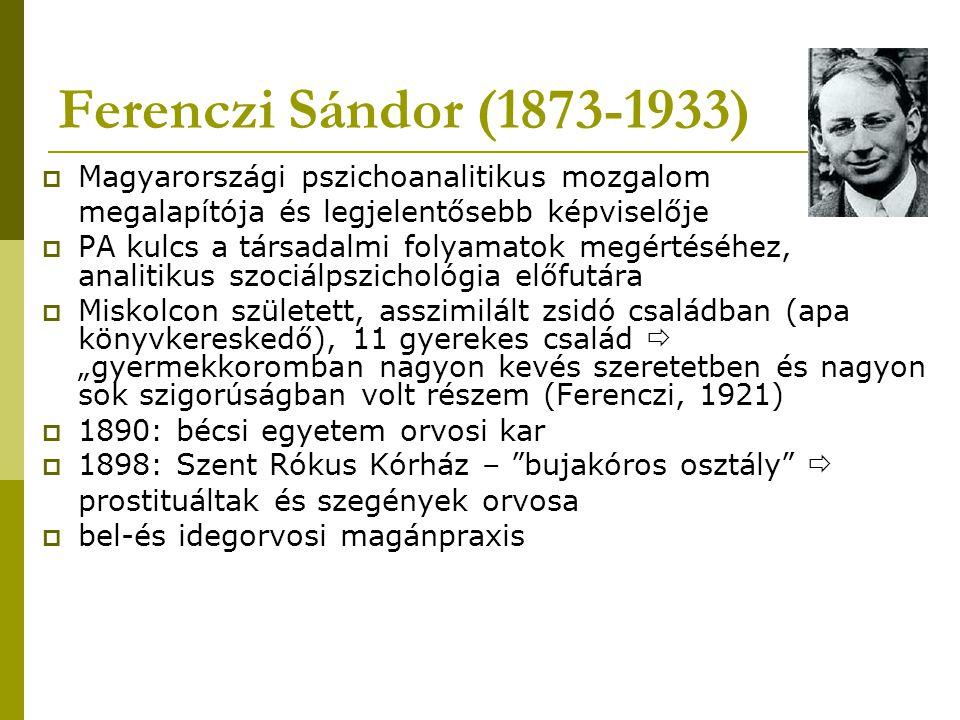 """Ferenczi Sándor (1873-1933)  1907: találkozás Junggal  szóasszociációs teszttel való kísérletezés  freudi elméletek befogadása  1908: Freuddal való kapcsolatfelvétel  élethosszig tartó barátság """"bensőséges élet-, érzelem-, és érdekközösség (Freud, 1933) 1914-16: Freud analizálja Ferenczit intenzív levelezés: kommunikációs csatorna, életforma, eszmecsere és konfliktusok kibeszélésének formája, esetmegbeszélés, menekülés a magányból, önvallomás tere, analitikus napló, díványgabalyodás (Bálint M.) Ferenczi és Freud, 1917, Tátra"""