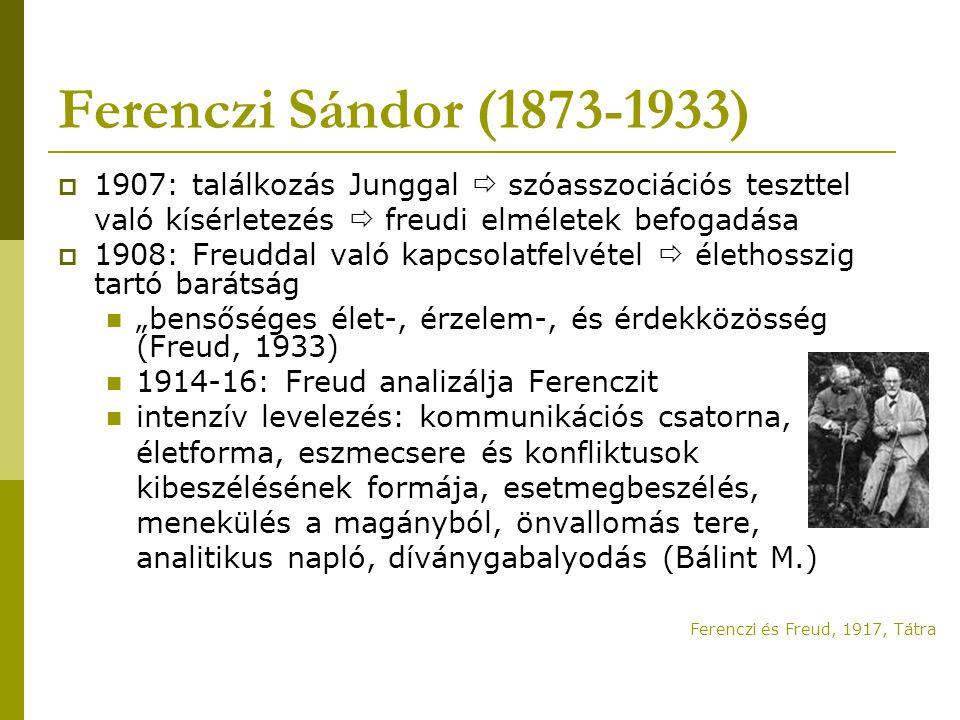 Ferenczi Sándor (1873-1933)  1907: találkozás Junggal  szóasszociációs teszttel való kísérletezés  freudi elméletek befogadása  1908: Freuddal val