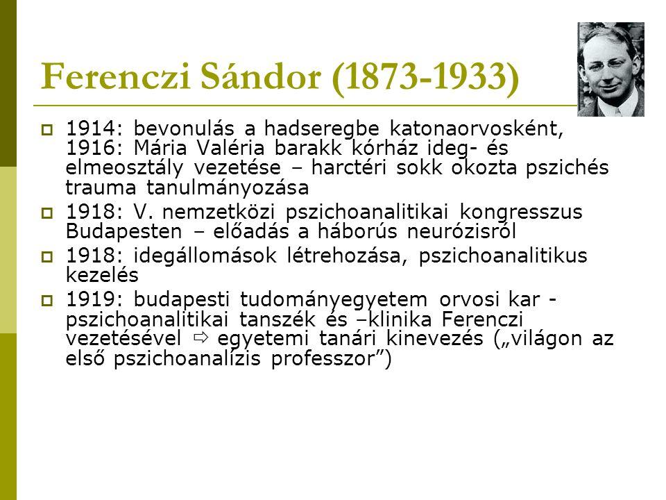 Ferenczi Sándor (1873-1933)  Tanácsköztársaság bukása után magyarországi PA újra ellenzéki pozícióba vonul  1919: házasság Pálos Gizellával  1926 – 1927: 6 hónap az USA-ban: előadások és analitikus-jelöltek kiképzése (nem csak orvosokat!)  amerikai pszichoanalitikus közösség