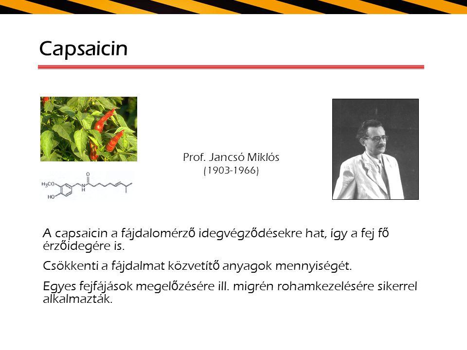 Capsaicin Prof. Jancsó Miklós (1903-1966) A capsaicin a fájdalomérz ő idegvégz ő désekre hat, így a fej f ő érz ő idegére is. Csökkenti a fájdalmat kö