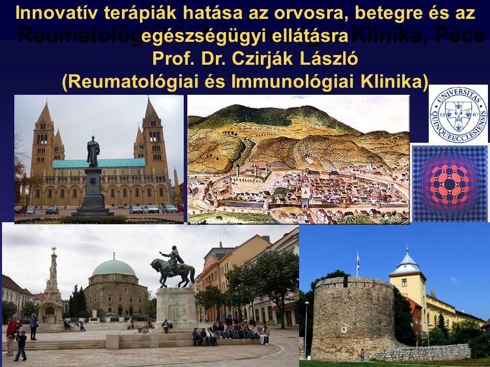 Pécs Reumatológiai és Immunológiai Klinika, Pécs Innovatív terápiák hatása az orvosra, betegre és az egészségügyi ellátásra Prof.