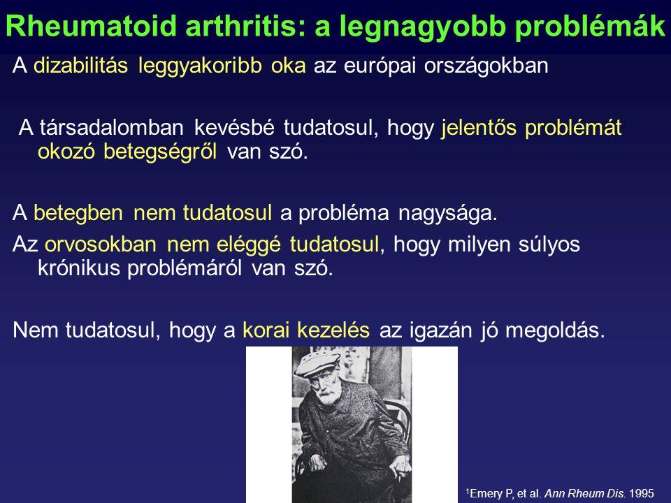 Rheumatoid arthritis: a legnagyobb problémák A dizabilitás leggyakoribb oka az európai országokban A társadalomban kevésbé tudatosul, hogy jelentős problémát okozó betegségről van szó.
