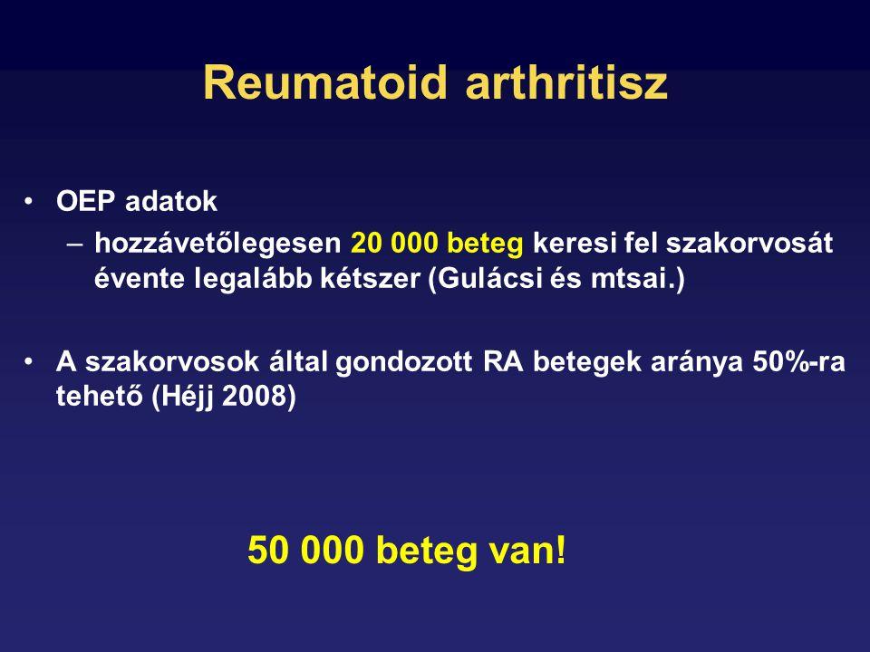 Reumatoid arthritisz OEP adatok –hozzávetőlegesen 20 000 beteg keresi fel szakorvosát évente legalább kétszer (Gulácsi és mtsai.) A szakorvosok által gondozott RA betegek aránya 50%-ra tehető (Héjj 2008) 50 000 beteg van!