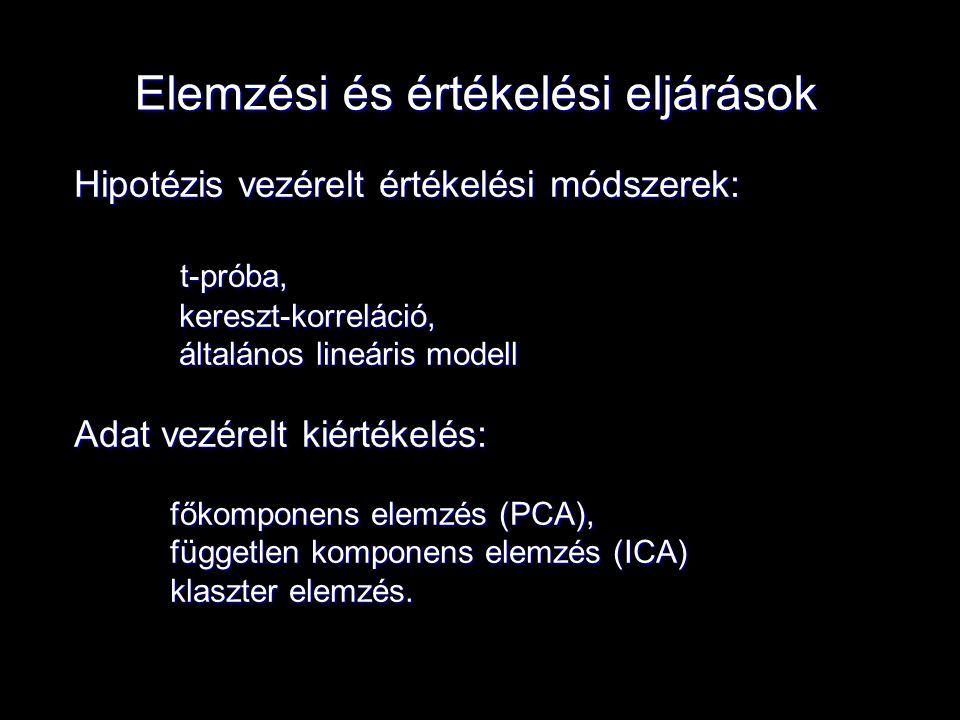 Elemzési és értékelési eljárások Hipotézis vezérelt értékelési módszerek: t-próba, t-próba, kereszt-korreláció, kereszt-korreláció, általános lineáris modell általános lineáris modell Adat vezérelt kiértékelés: főkomponens elemzés (PCA), független komponens elemzés (ICA) klaszter elemzés.