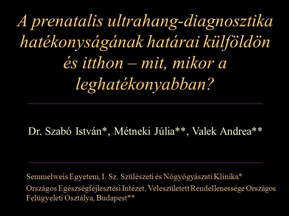 Az ultrahang képalkotás fejlődése 1961 Donald és Brown, 1964 Sunden, 1972 Campbell et al., – magzati fejlődési rendellenességek kimutatása ultrahangvizsgálattal 1973 Grennert et al., 1979 Hobbins et al.