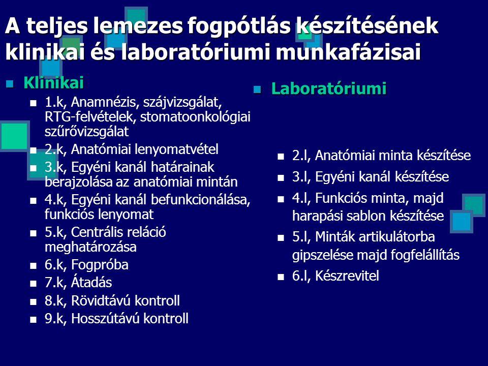 A teljes lemezes fogpótlás készítésének klinikai és laboratóriumi munkafázisai Klinikai Klinikai 1.k, Anamnézis, szájvizsgálat, RTG-felvételek, stomat