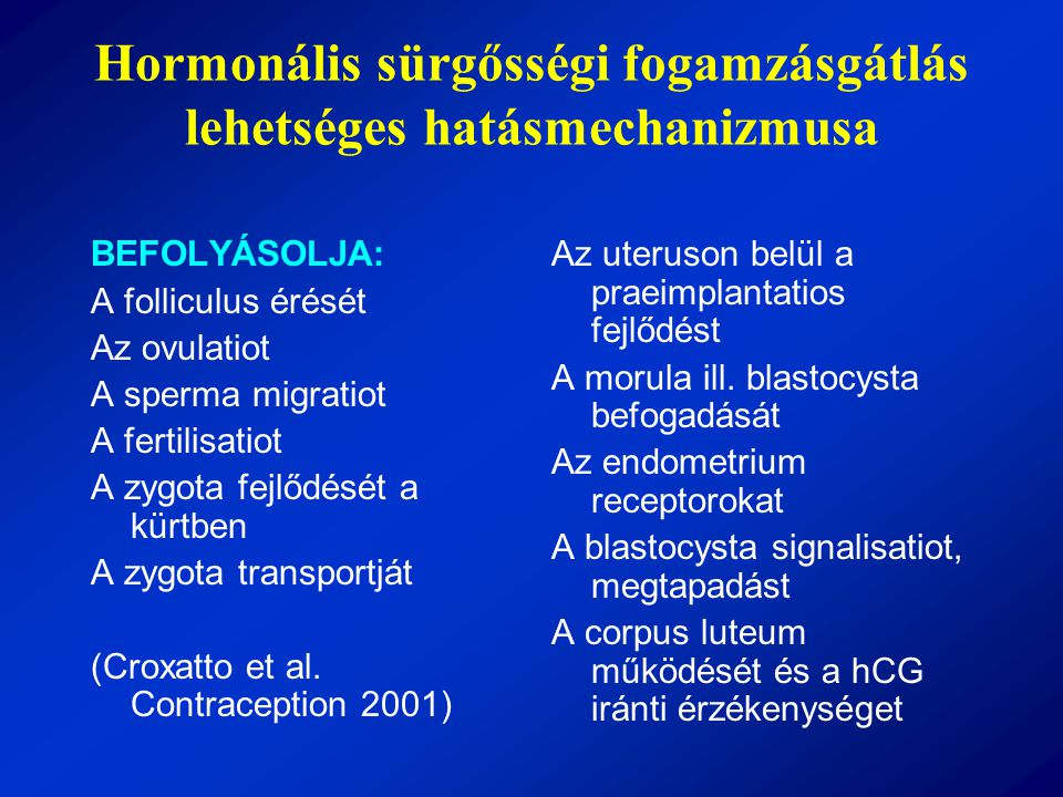 Hormonális sürgősségi fogamzásgátlás lehetséges hatásmechanizmusa BEFOLYÁSOLJA: A folliculus érését Az ovulatiot A sperma migratiot A fertilisatiot A