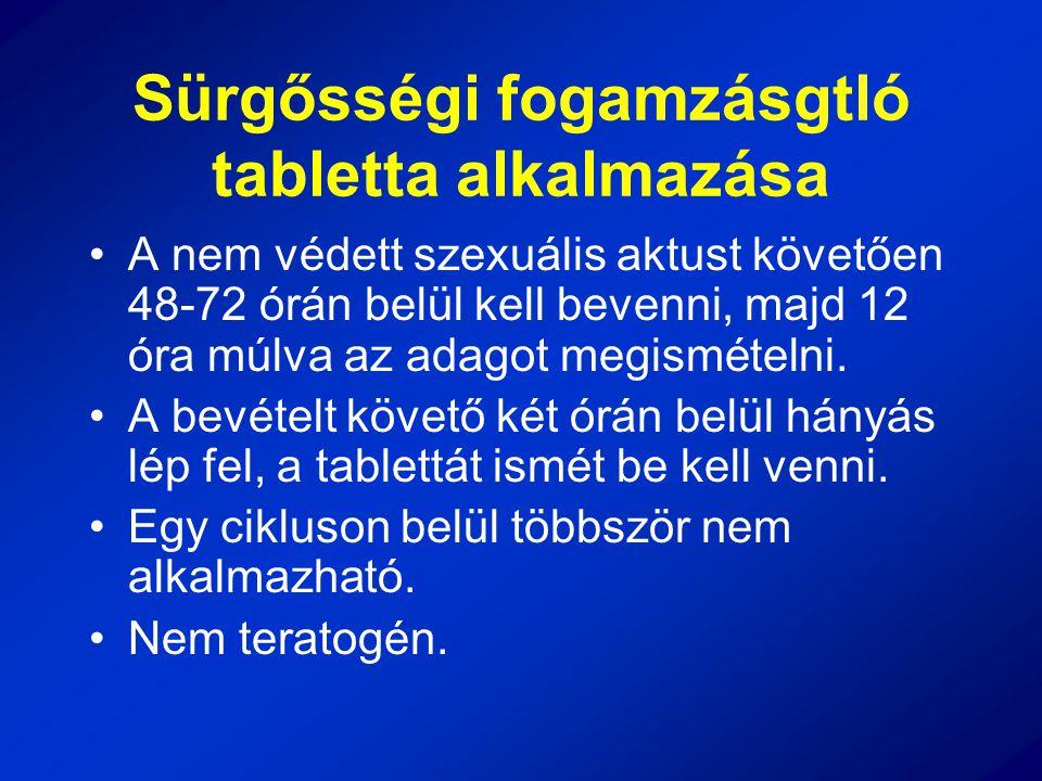 Sürgősségi fogamzásgtló tabletta alkalmazása A nem védett szexuális aktust követően 48-72 órán belül kell bevenni, majd 12 óra múlva az adagot megismé