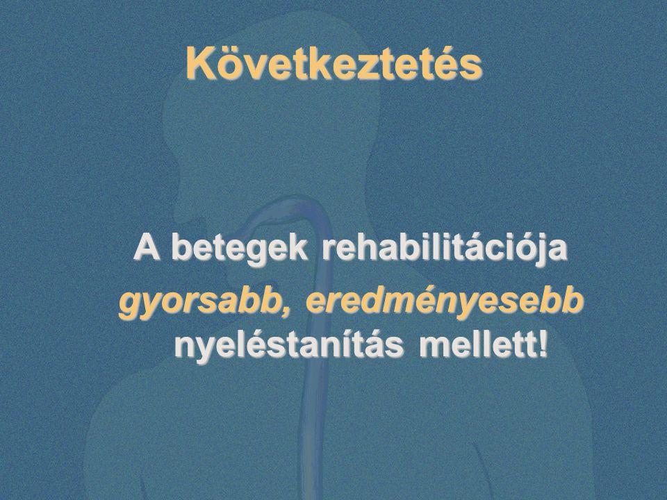 Következtetés A betegek rehabilitációja gyorsabb, eredményesebb nyeléstanítás mellett!