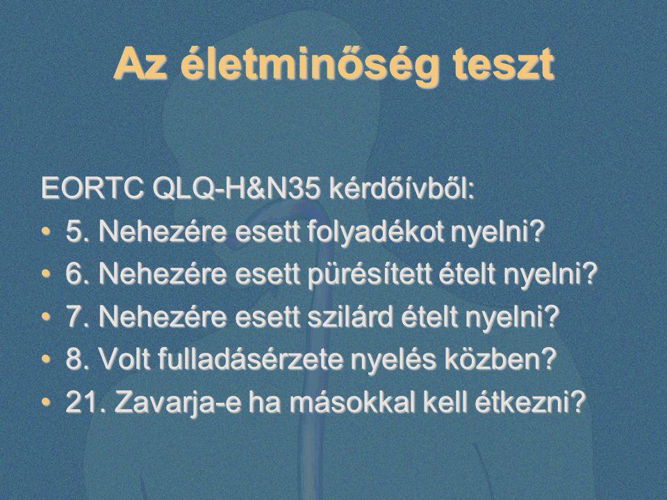 Az életminőség teszt EORTC QLQ-H&N35 kérdőívből: 5. Nehezére esett folyadékot nyelni?5. Nehezére esett folyadékot nyelni? 6. Nehezére esett pürésített