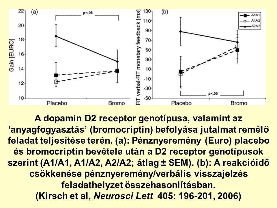 A dopamin D2 receptor genotípusa, valamint az 'anyagfogyasztás' (bromocriptin) befolyása jutalmat remélő feladat teljesítése terén. (a): Pénznyeremény