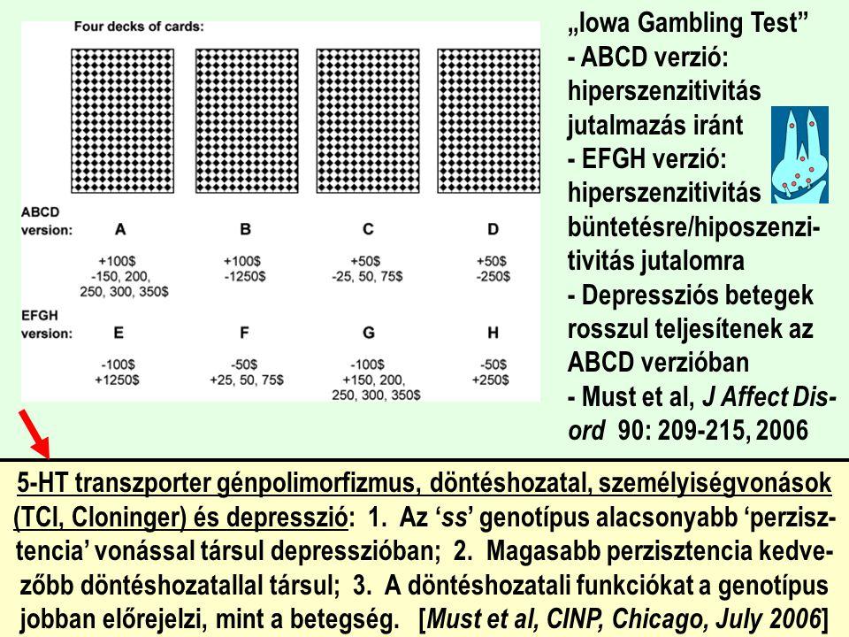 """""""Iowa Gambling Test"""" - ABCD verzió: hiperszenzitivitás jutalmazás iránt - EFGH verzió: hiperszenzitivitás büntetésre/hiposzenzi- tivitás jutalomra - D"""