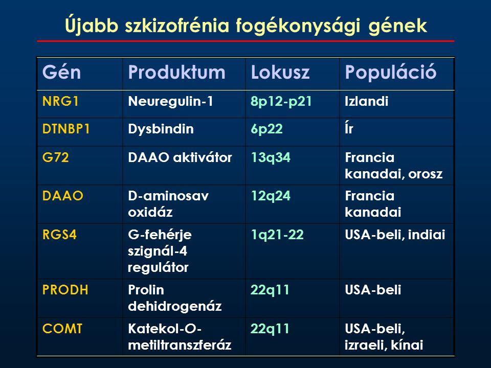 Újabb szkizofrénia fogékonysági gének GénProduktumLokuszPopuláció NRG1Neuregulin-18p12-p21Izlandi DTNBP1Dysbindin6p22Ír G72DAAO aktivátor13q34Francia