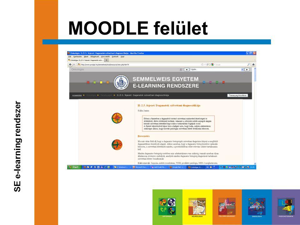 MOODLE felület SE e-learning rendszer
