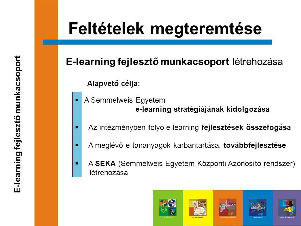  A Semmelweis Egyetem e-learning stratégiájának kidolgozása  Az intézményben folyó e-learning fejlesztések összefogása  A meglévő e-tananyagok karb