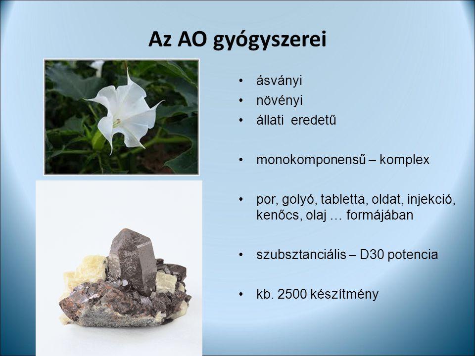 Az AO gyógyszerei ásványi növényi állati eredetű monokomponensű – komplex por, golyó, tabletta, oldat, injekció, kenőcs, olaj … formájában szubsztanci