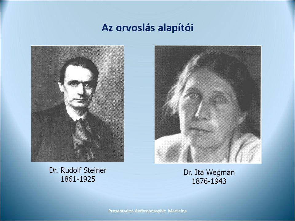Az orvoslás alapítói Presentation Anthroposophic Medicine Dr. Rudolf Steiner 1861-1925 Dr. Ita Wegman 1876-1943