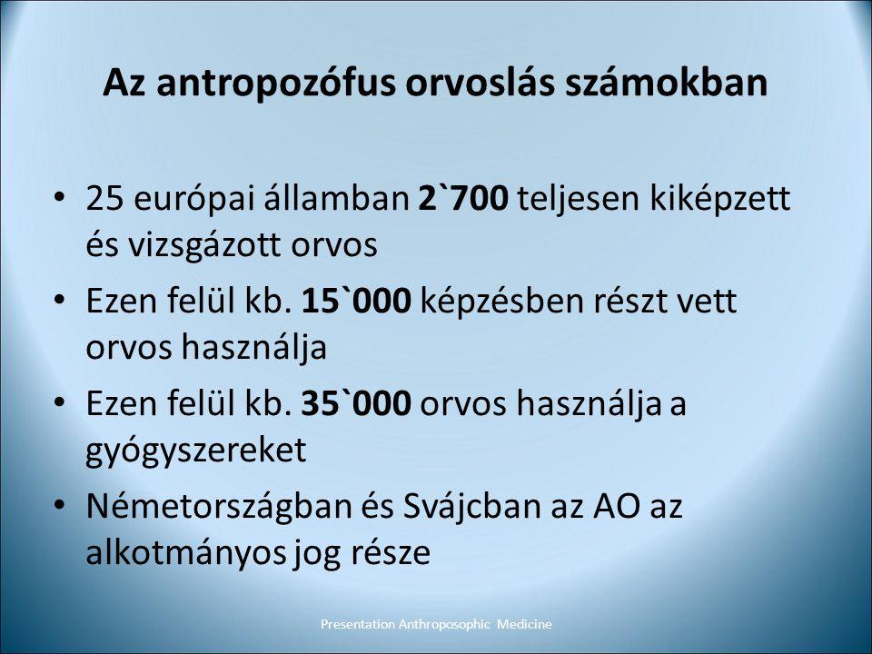 Az antropozófus orvoslás számokban 25 európai államban 2`700 teljesen kiképzett és vizsgázott orvos Ezen felül kb. 15`000 képzésben részt vett orvos h