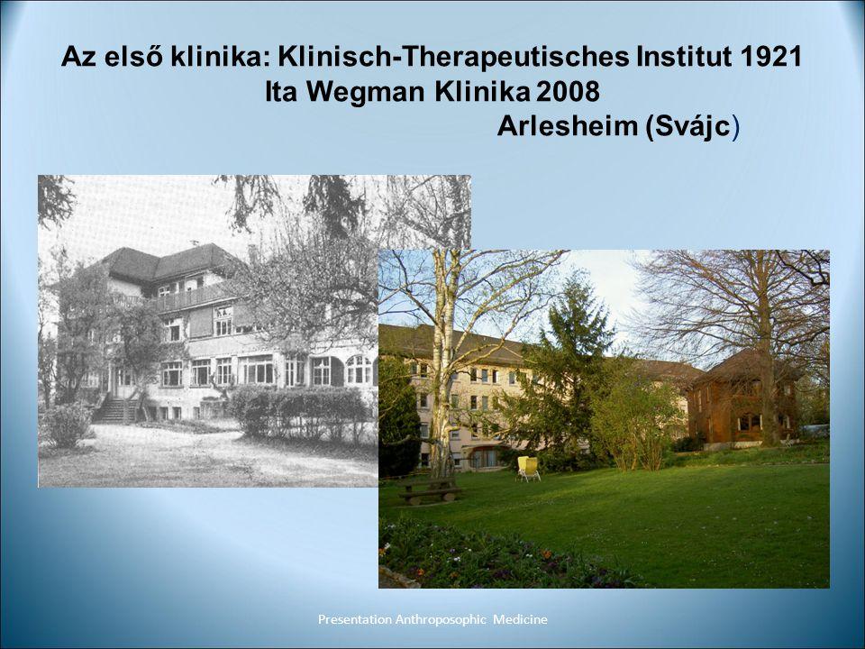 Az első klinika: Klinisch-Therapeutisches Institut 1921 Ita Wegman Klinika 2008 Arlesheim (Svájc) Presentation Anthroposophic Medicine