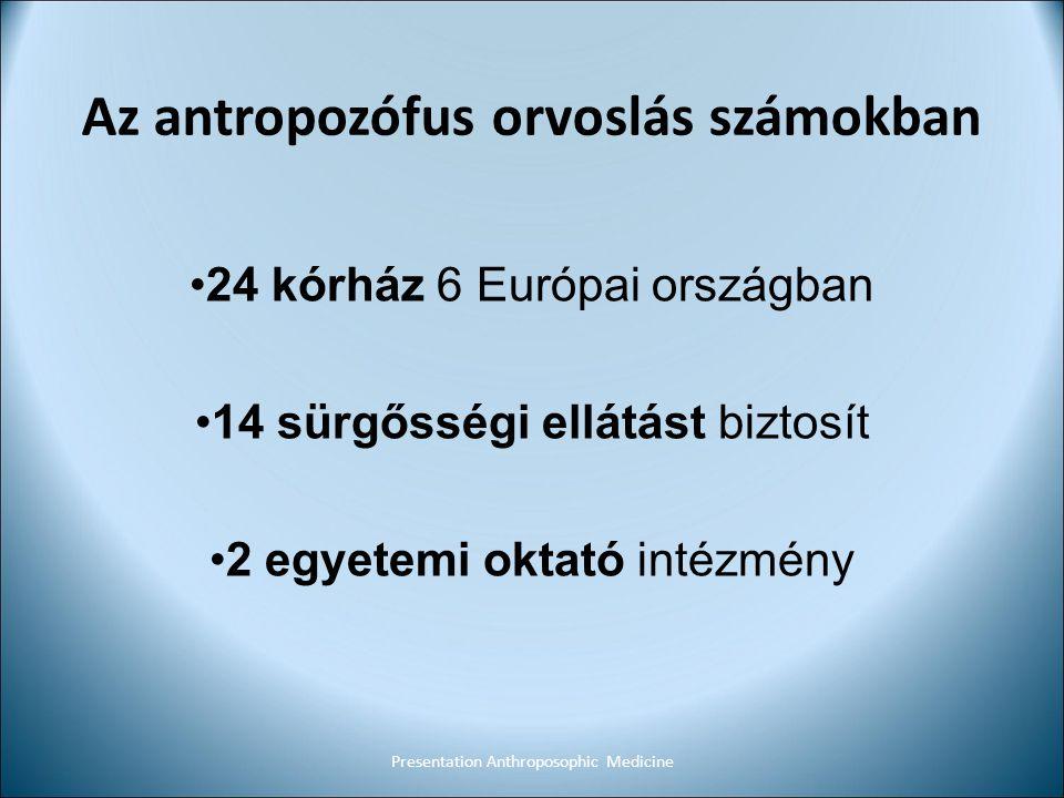 Az antropozófus orvoslás számokban 24 kórház 6 Európai országban 14 sürgősségi ellátást biztosít 2 egyetemi oktató intézmény Presentation Anthroposoph