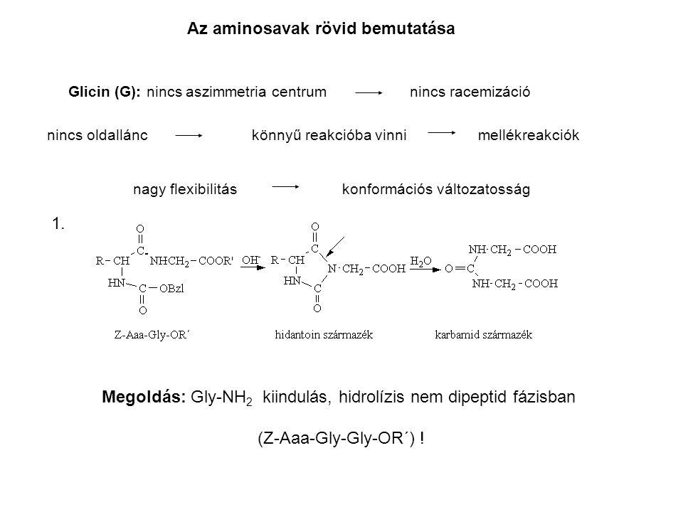 Az aminosavak rövid bemutatása Glicin (G): nincs aszimmetria centrumnincs racemizáció nincs oldallánckönnyű reakcióba vinni mellékreakciók nagy flexibilitás konformációs változatosság Megoldás: Gly-NH 2 kiindulás, hidrolízis nem dipeptid fázisban (Z-Aaa-Gly-Gly-OR´) .