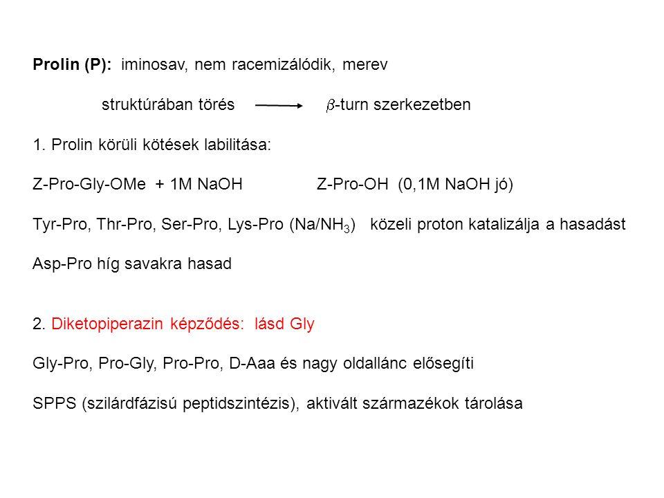 Prolin (P): iminosav, nem racemizálódik, merev struktúrában törés  -turn szerkezetben 1. Prolin körüli kötések labilitása: Z-Pro-Gly-OMe + 1M NaOH Z-