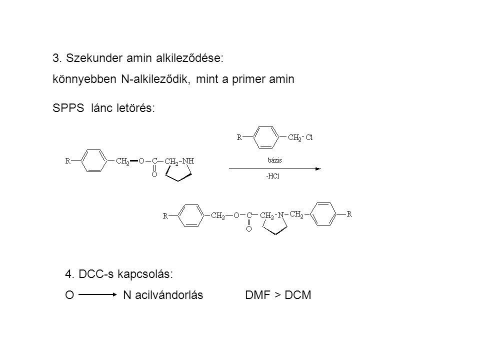 3. Szekunder amin alkileződése: könnyebben N-alkileződik, mint a primer amin SPPS lánc letörés: 4. DCC-s kapcsolás: O N acilvándorlás DMF > DCM