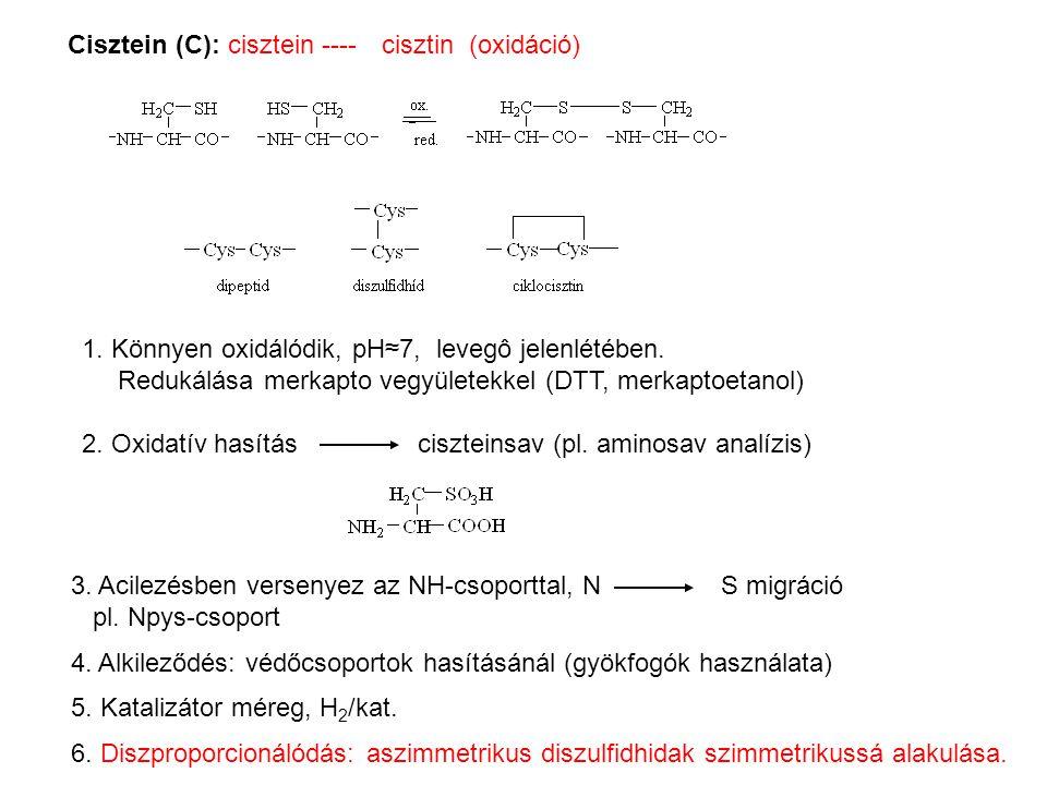 3. Acilezésben versenyez az NH-csoporttal, N S migráció pl. Npys-csoport 4. Alkileződés: védőcsoportok hasításánál (gyökfogók használata) 5. Katalizát