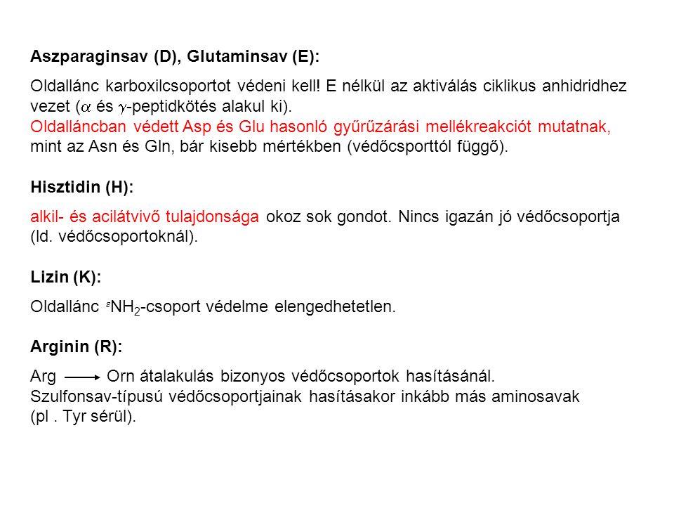 Aszparaginsav (D), Glutaminsav (E): Oldallánc karboxilcsoportot védeni kell.