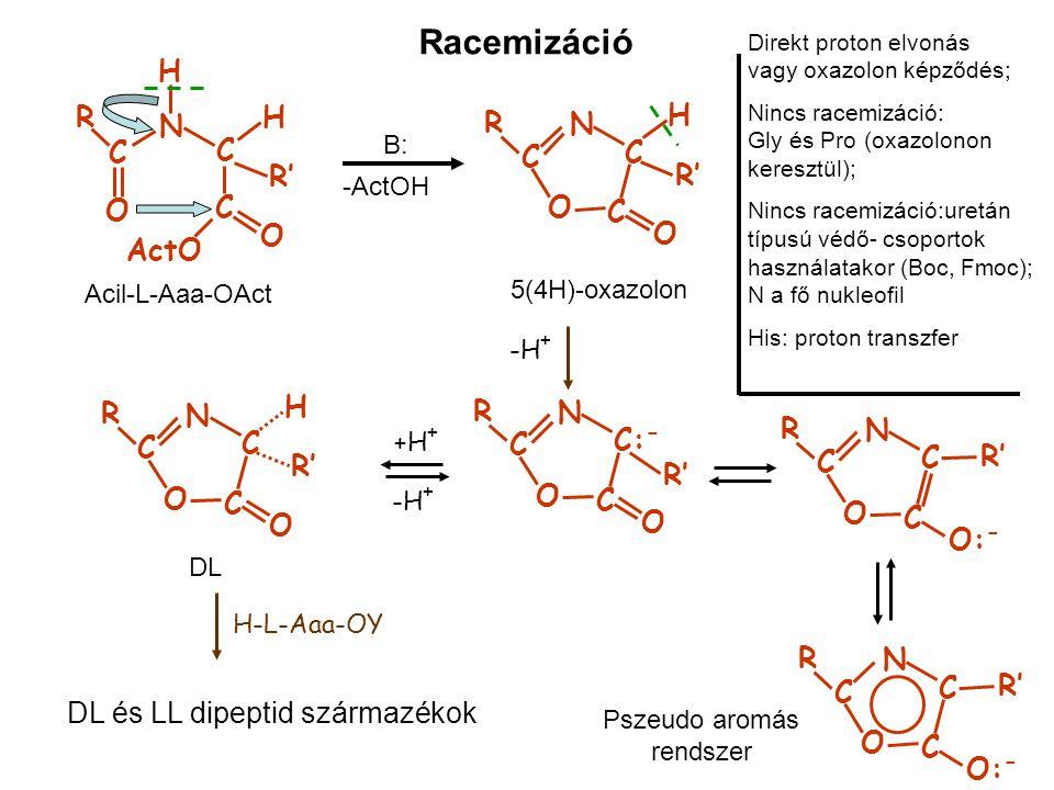 Racemizáció C R O N H C R' H C ActO O Acil-L-Aaa-OAct B: -ActOH 5(4H)-oxazolon C R O N C R' H C O -H + C R O N C: - R' C O C R O N C C O: - C R O N C