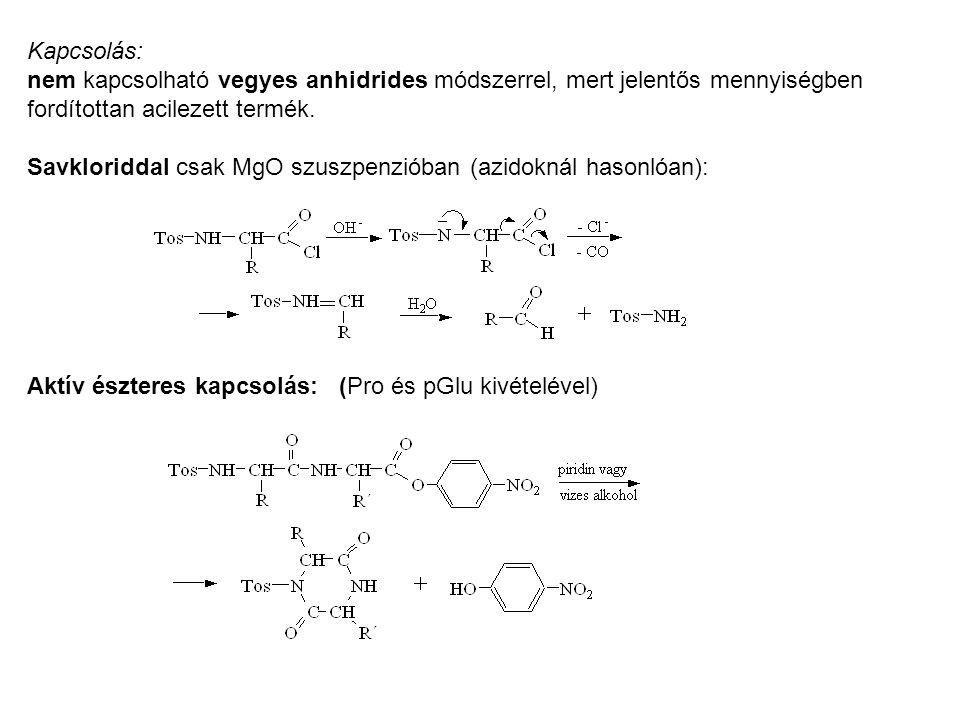 Kapcsolás: nem kapcsolható vegyes anhidrides módszerrel, mert jelentős mennyiségben fordítottan acilezett termék. Savkloriddal csak MgO szuszpenzióban