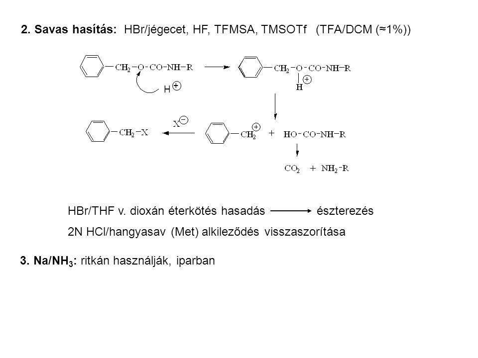 2. Savas hasítás: HBr/jégecet, HF, TFMSA, TMSOTf (TFA/DCM (≈1%)) HBr/THF v. dioxán éterkötés hasadás észterezés 2N HCl/hangyasav (Met) alkileződés vis