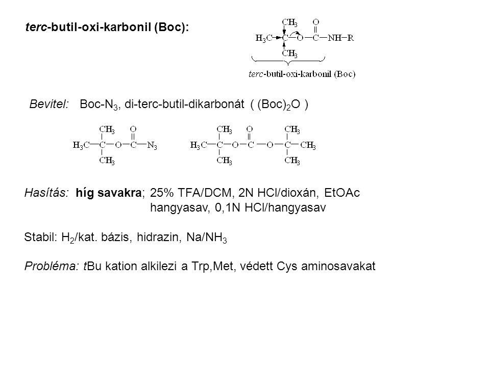 terc-butil-oxi-karbonil (Boc): Bevitel: Boc-N 3, di-terc-butil-dikarbonát ( (Boc) 2 O ) Hasítás: híg savakra; 25% TFA/DCM, 2N HCl/dioxán, EtOAc hangya