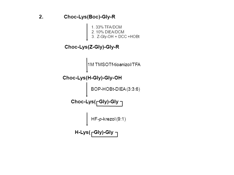 HF-p-krezol (9:1) 1. 33% TFA/DCM 2. 10% DIEA/DCM 3. Z-Gly-OH + DCC +HOBt Choc-Lys(Z-Gly)-Gly-R 1M TMSOTf-tioanizol/TFA 2. Choc-Lys(Boc)-Gly-R Choc-Lys