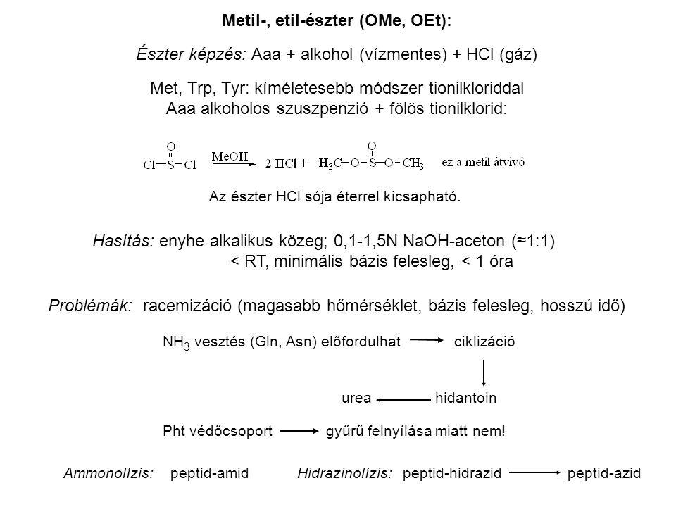 Metil-, etil-észter (OMe, OEt): Észter képzés: Aaa + alkohol (vízmentes) + HCl (gáz) Met, Trp, Tyr: kíméletesebb módszer tionilkloriddal Aaa alkoholos szuszpenzió + fölös tionilklorid: Az észter HCl sója éterrel kicsapható.