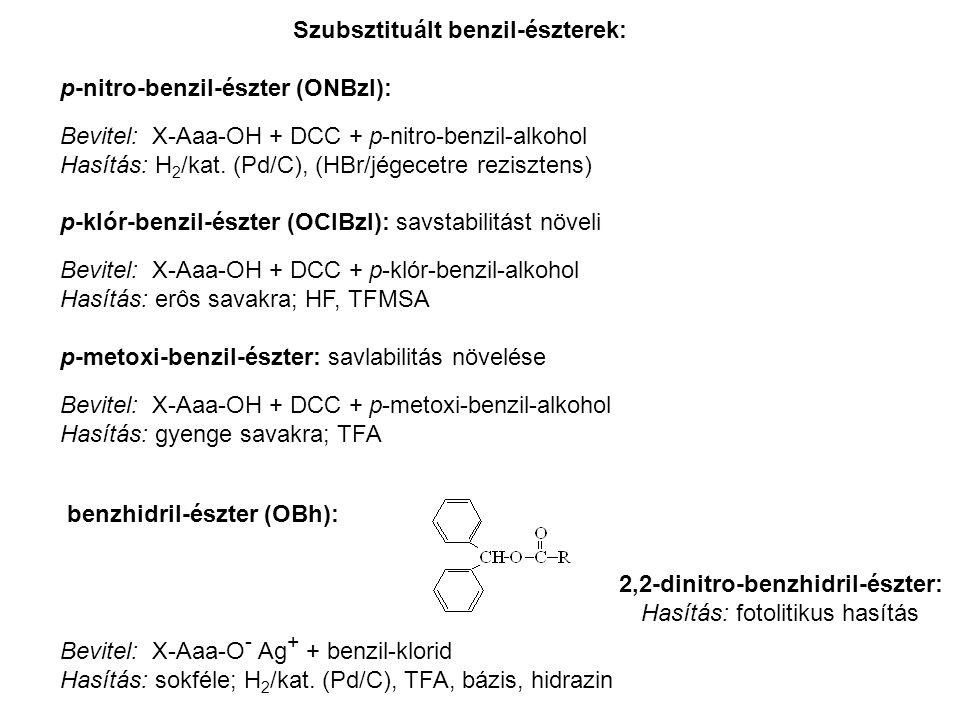 Szubsztituált benzil-észterek: p-nitro-benzil-észter (ONBzl): Bevitel: X-Aaa-OH + DCC + p-nitro-benzil-alkohol Hasítás: H 2 /kat.