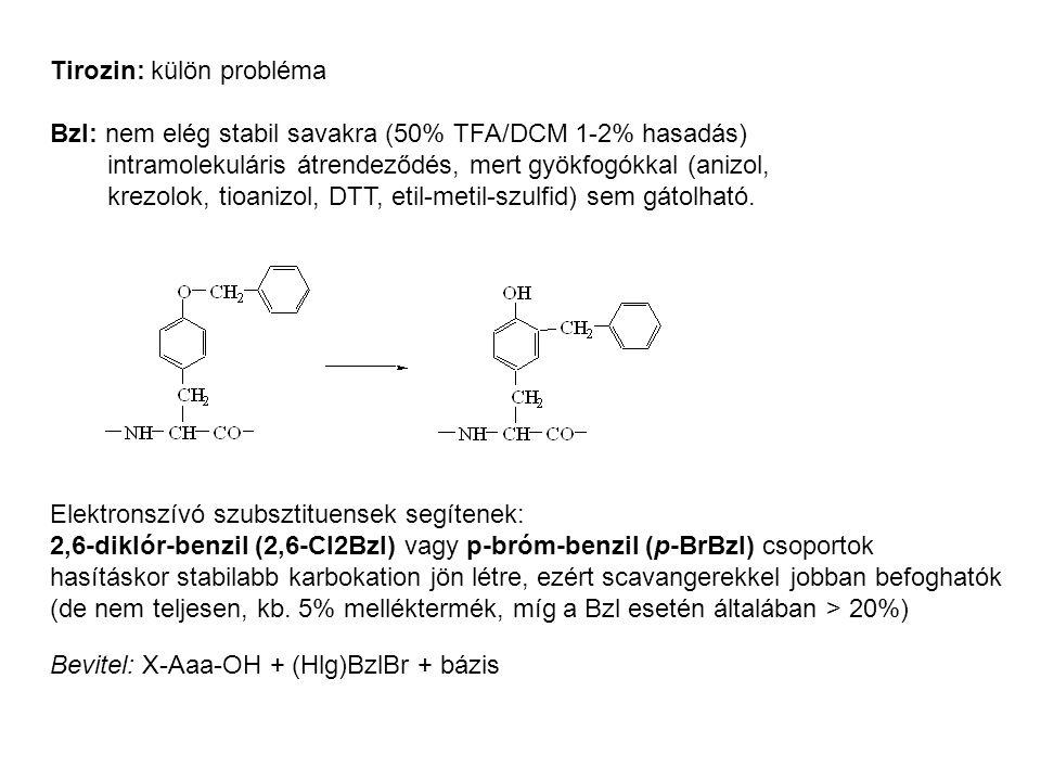 Tirozin: külön probléma Bzl: nem elég stabil savakra (50% TFA/DCM 1-2% hasadás) intramolekuláris átrendeződés, mert gyökfogókkal (anizol, krezolok, ti