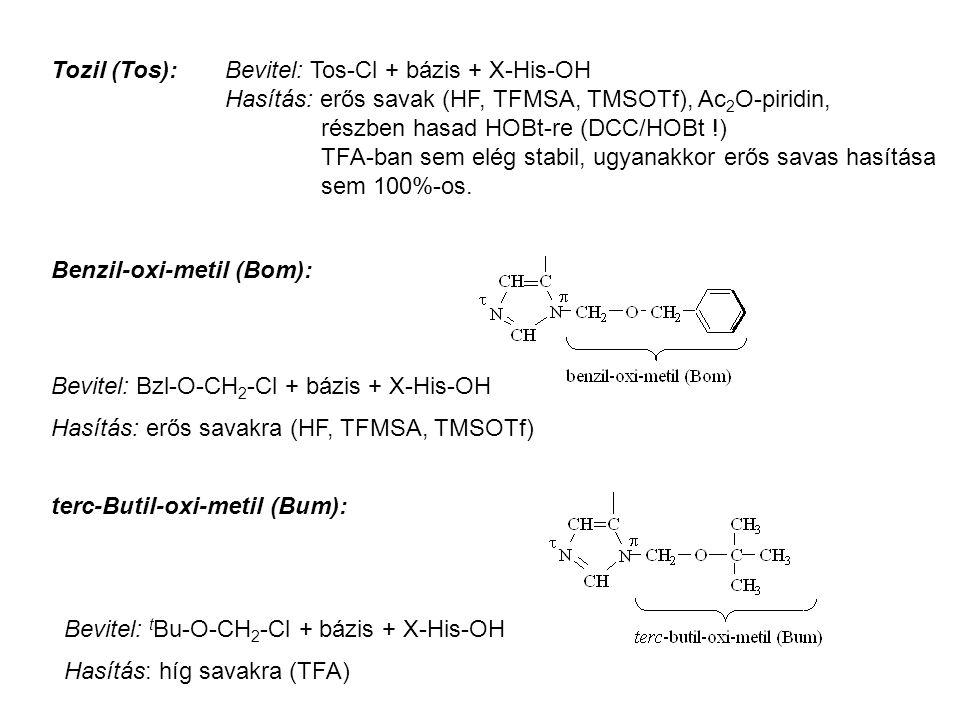 Tozil (Tos): Bevitel: Tos-Cl + bázis + X-His-OH Hasítás: erős savak (HF, TFMSA, TMSOTf), Ac 2 O-piridin, részben hasad HOBt-re (DCC/HOBt !) TFA-ban sem elég stabil, ugyanakkor erős savas hasítása sem 100%-os.