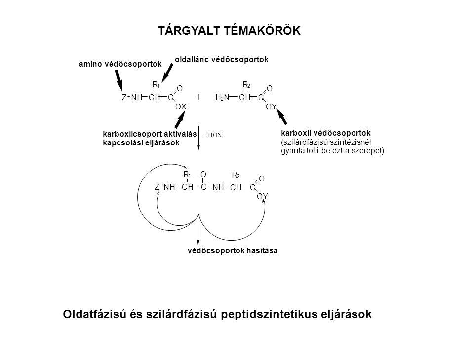 TÁRGYALT TÉMAKÖRÖK Oldatfázisú és szilárdfázisú peptidszintetikus eljárások ZNHCHC O OX + H 2 NCHC O OY R 1 R 2 - HOX ZNHCHC R 1 NHCHC O OY R 2 O amino védőcsoportok oldallánc védőcsoportok karboxil védőcsoportok (szilárdfázisú szintézisnél gyanta tölti be ezt a szerepet) karboxilcsoport aktiválás kapcsolási eljárások védőcsoportok hasítása