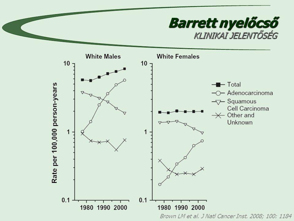 Barrett nyelőcső KLINIKAI JELENTŐSÉG Brown LM et al. J Natl Cancer Inst. 2008; 100: 1184