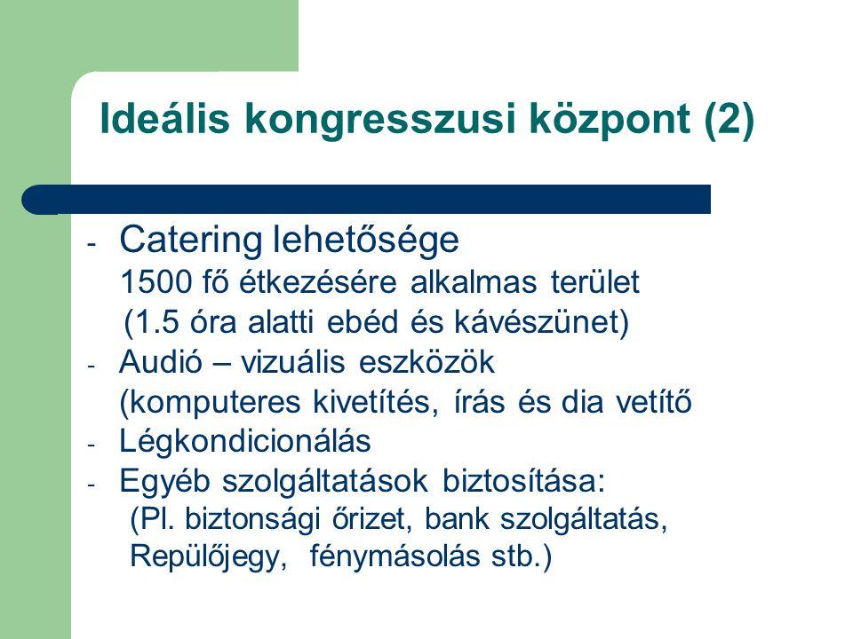 Ideális kongresszusi központ (2) - Catering lehetősége 1500 fő étkezésére alkalmas terület (1.5 óra alatti ebéd és kávészünet) - Audió – vizuális eszközök (komputeres kivetítés, írás és dia vetítő - Légkondicionálás - Egyéb szolgáltatások biztosítása: (Pl.