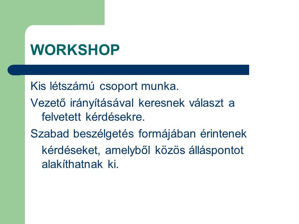 WORKSHOP Kis létszámú csoport munka.Vezető irányításával keresnek választ a felvetett kérdésekre.