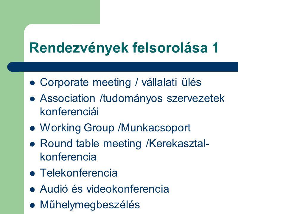Rendezvények felsorolása 1 Corporate meeting / vállalati ülés Association /tudományos szervezetek konferenciái Working Group /Munkacsoport Round table meeting /Kerekasztal- konferencia Telekonferencia Audió és videokonferencia Műhelymegbeszélés