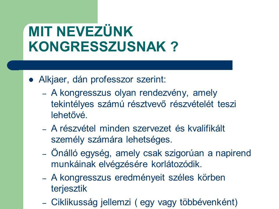 Ludwig Zanki német utazási irodai szakember szerint: Ha kongresszusról beszélünk, akkor egy adott helyen zömében idegen személyek meghatározott célú, de különböző formájú tanácskozásaira, többnyire ideiglenes összejövetelre gondolunk.