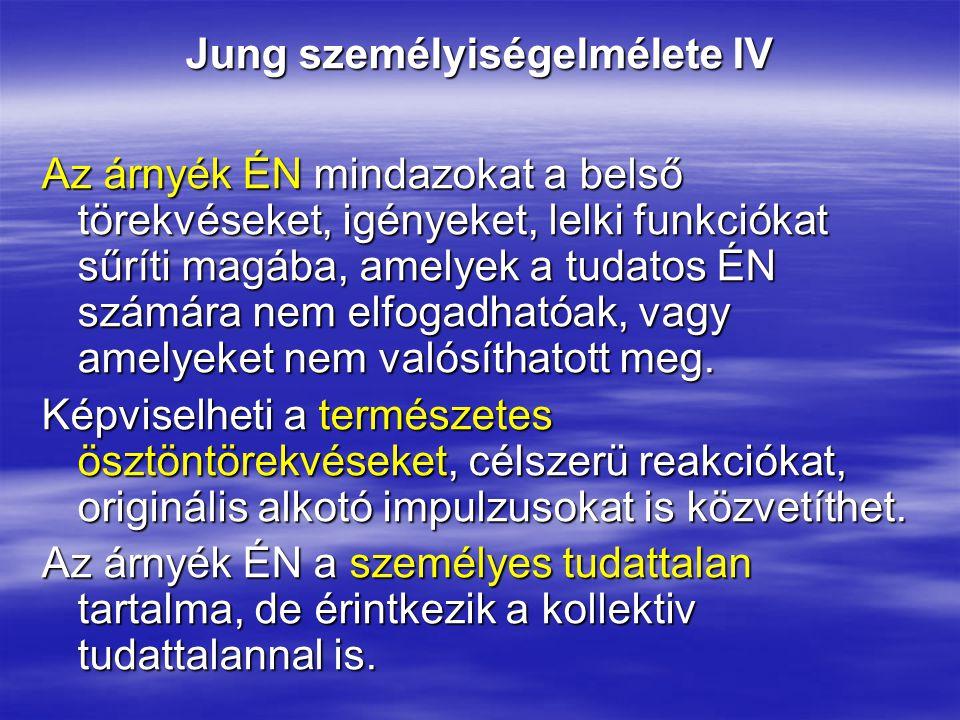 Jung személyiségelmélete IV Az árnyék ÉN mindazokat a belső törekvéseket, igényeket, lelki funkciókat sűríti magába, amelyek a tudatos ÉN számára nem