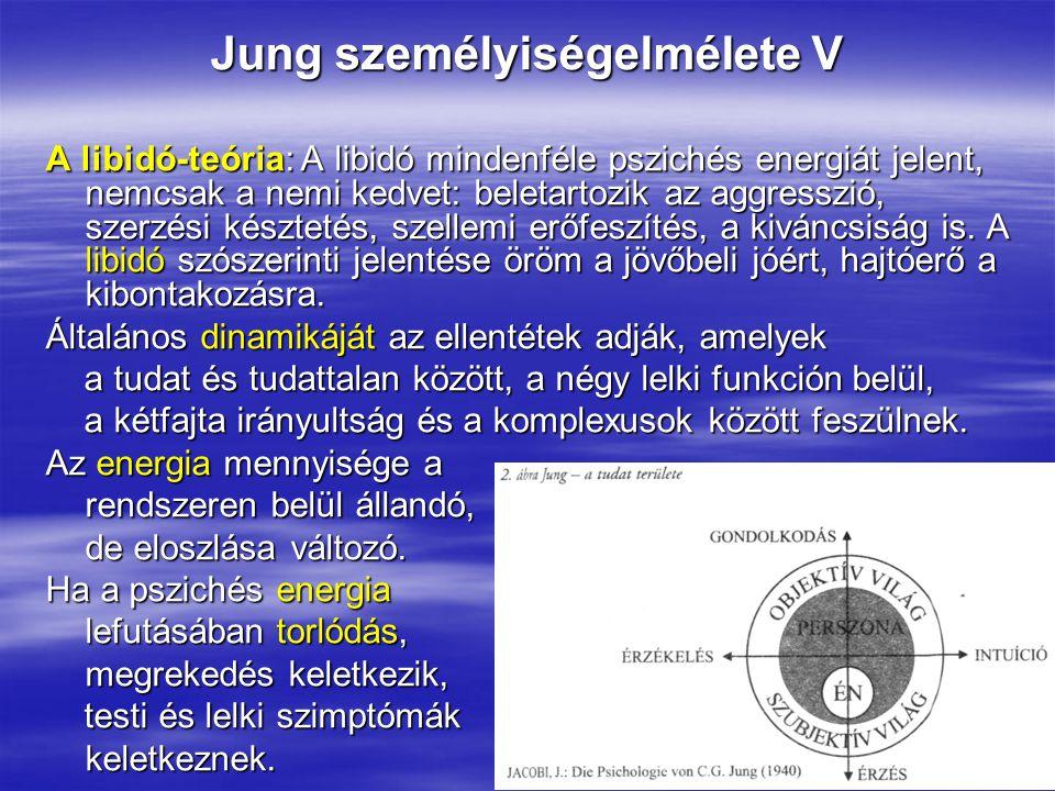Jung személyiségelmélete V A libidó-teória: A libidó mindenféle pszichés energiát jelent, nemcsak a nemi kedvet: beletartozik az aggresszió, szerzési